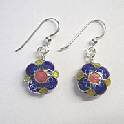 Blue Flower Cloisonne Earrings