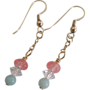 Lovely Pastel Earrings in Amazonite/Crystal
