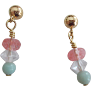Amazonite/Crystal Earrings