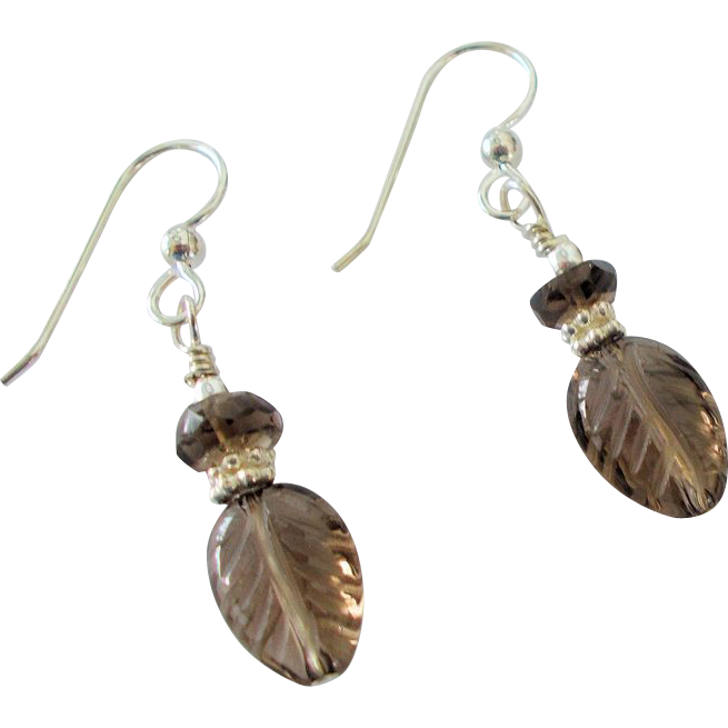 Carved Smoky Quartz Leaf Earrings