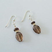 Beautiful Carved Smoky Quartz Earrings