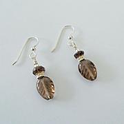 Beautiful Carved Smoky Quartz Earrings
