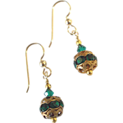 Green Crystal/Rhinestone Earrings