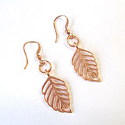 Beautiful Copper Leaf Earrings