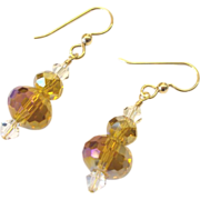 Sparkling Amber Crystal Earrings