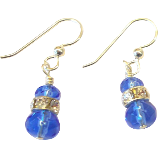 Cobalt Blue/Rhinestone Crystal Earrings
