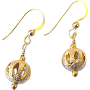Textured/Slashed Bead Earrings