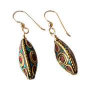 Beautiful Brass Inlay Earrings