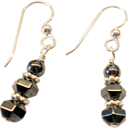 Hematite and Sterling Silver Dangle Earrings