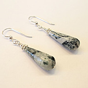 "Wonderful ""Teardrop"" Tree Agate Earrings"