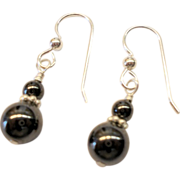 Small Hematite/Sterling Silver Earrings
