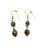 Turquoise Earrings w/Dangling Leaf
