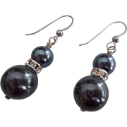 Black Swarovski Pearl Earrings