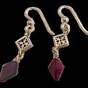 Garnet/Gold Fill Dangle Earrings
