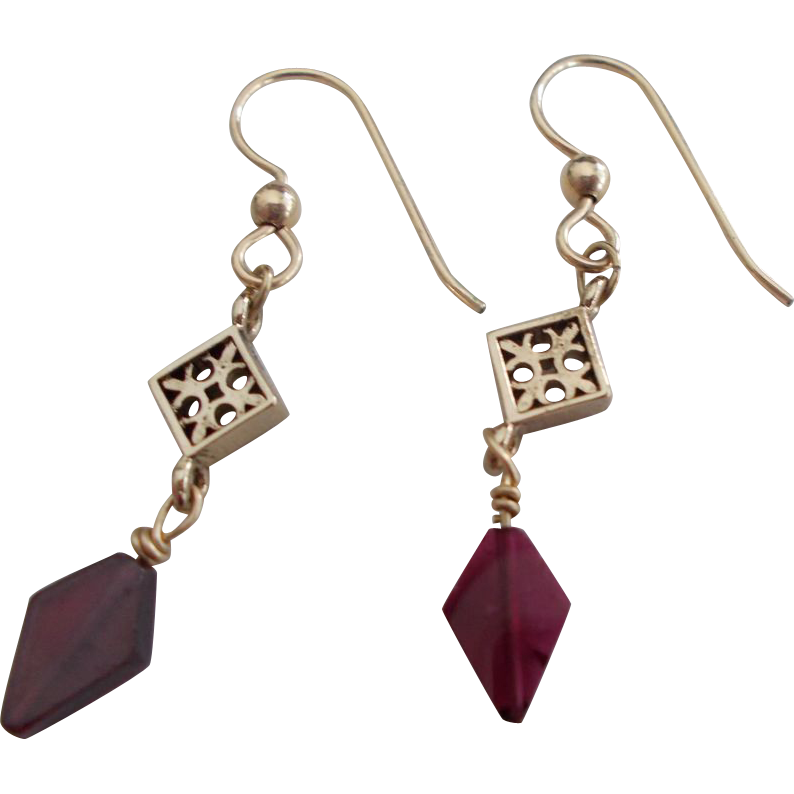 Garnet/Gold Fill Dangle Earrings