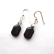Black Onyx/Crystal Earrings