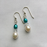 Freshwater Pearl/Crystal Dangle Earrings
