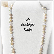 """Champagne Cocktail"" Baroque Pearl/Crystal Necklace"