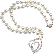 Beautiful White Swarovski Pearl Necklace w/CZ Focal
