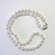 Classic White Swarovski Pearl and Crystal Necklace