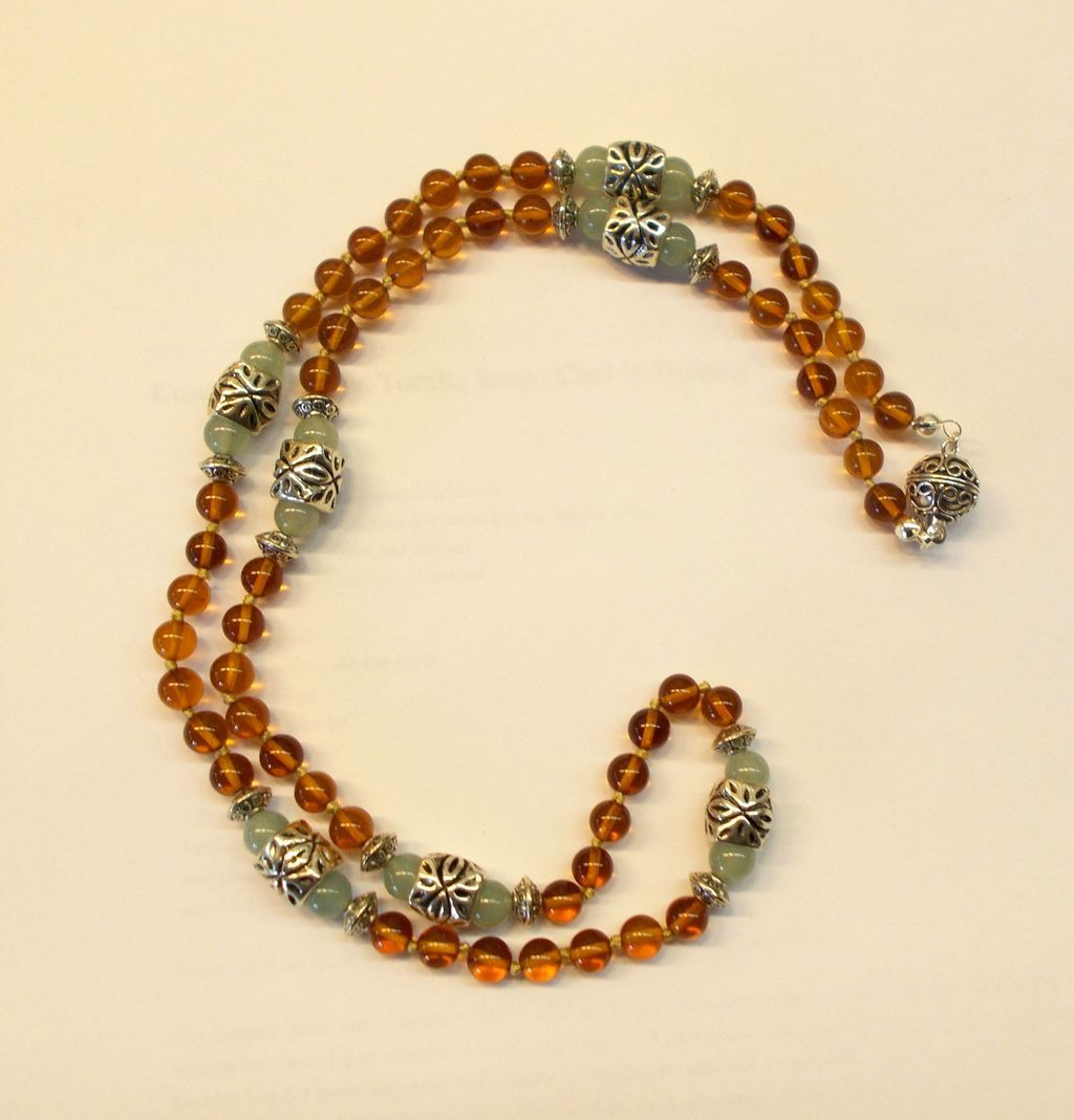Rich Amber and Aventurine Necklace