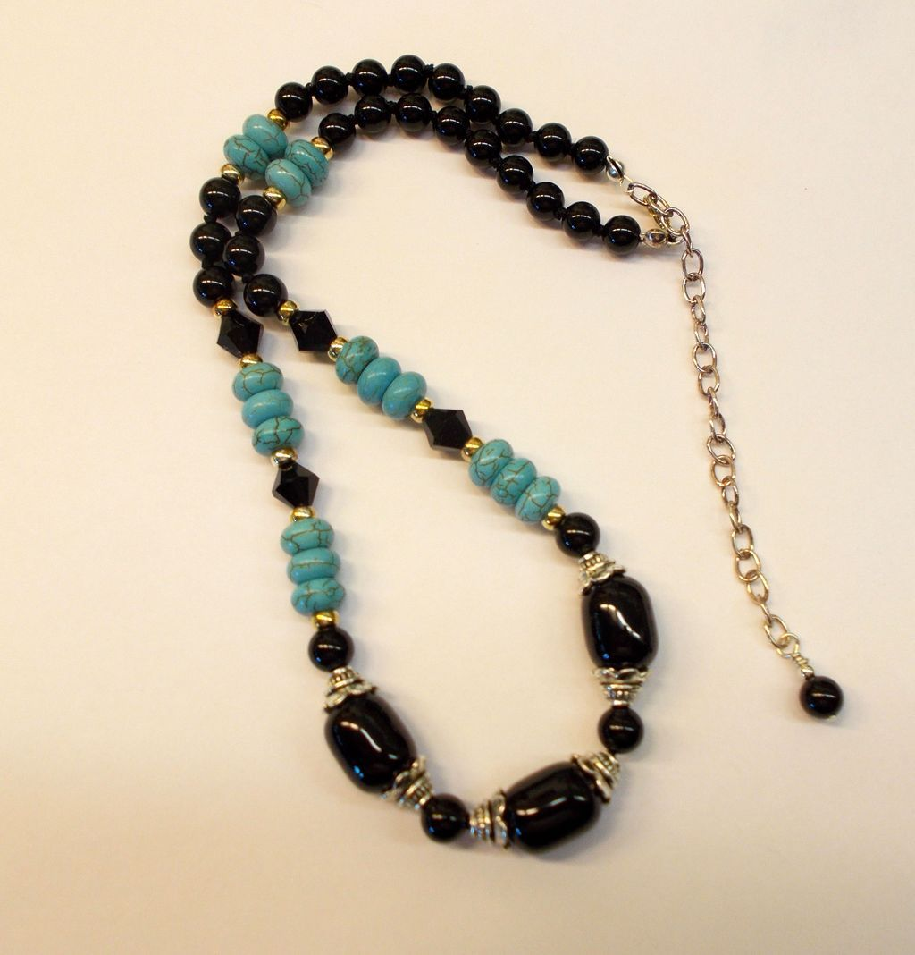 Black Onyx, Sterling Silver, and Magnesite Necklace