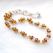 Sparkling Amber Crystal Necklace