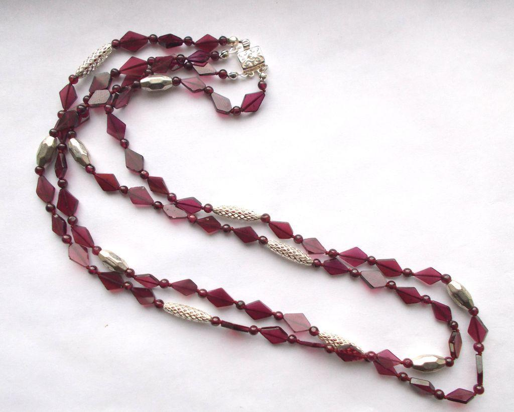 Garnet/Sterling Silver 2-Strand Necklace