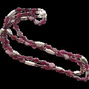 Garnet/Sterling Silver 2-Strand Necklace
