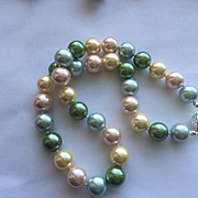 Shimmering Pastel Shell Pearl Necklace