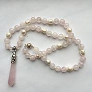 Beautiful Rose Quartz/White Freshwater Pearl Necklace/ER Set