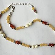 Carnelian/Golden Jasper/Mother-of-Pearl Necklace