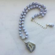 Beautiful Blue Lace Agate Necklace