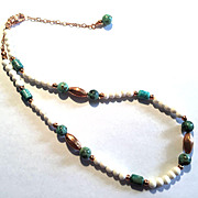Pretty Turquoise/Copper and White Bone Necklace