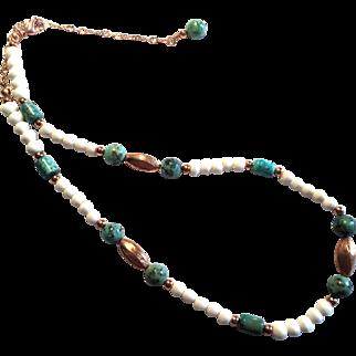 Pretty Turquoise/Copper and White Bone Necklace