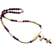 Pretty White Bone/Red Horn Necklace