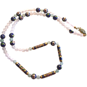 Rose Quartz/Aventurine & Cloisonne Necklace