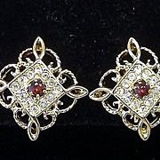 Beautiful Rhinestone and Filigree CLIP BACK Earrings