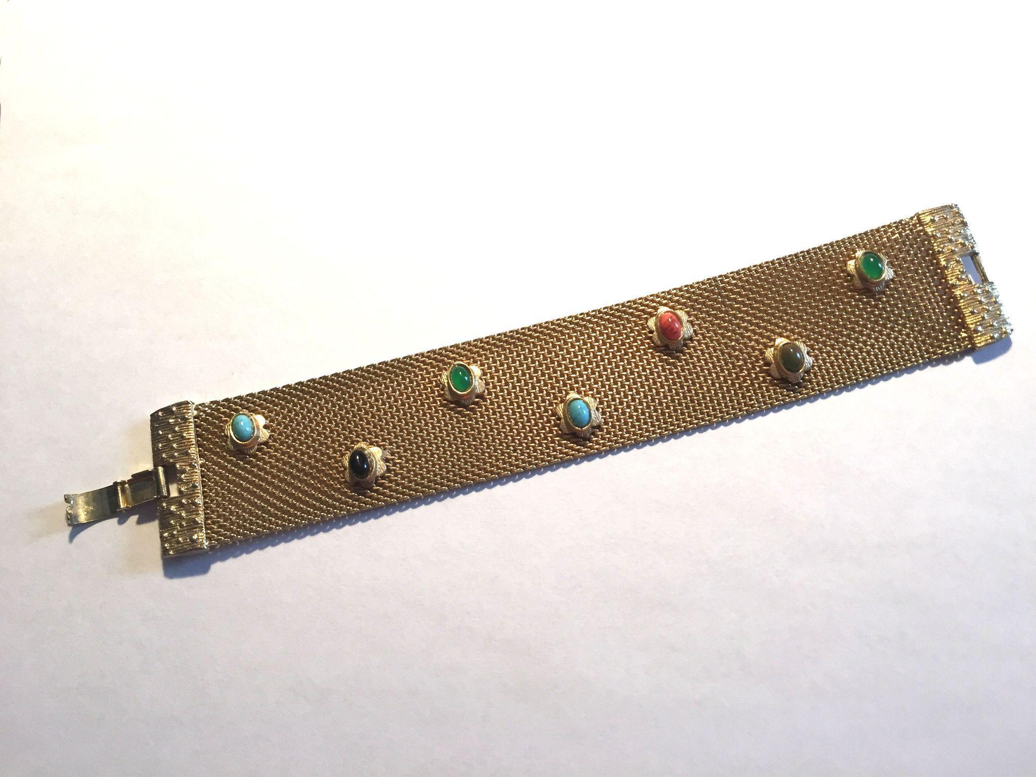 BEAUTIFUL Vintage Mesh Bracelet w/Stones
