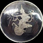 Vintage SIAM Niello Ware Pin