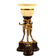 Unique Very Vintage Satyr Lamp with Alabaster Shade
