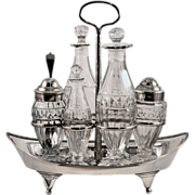 ca 1801 George III Scotland Sterling Silver and Thistle Pattern Glass Cruet Set
