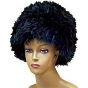 "Fabulous Dramatic Black ""Furry"" Vintage Hat"