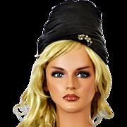 Vintage Black Satin Cloche Hat