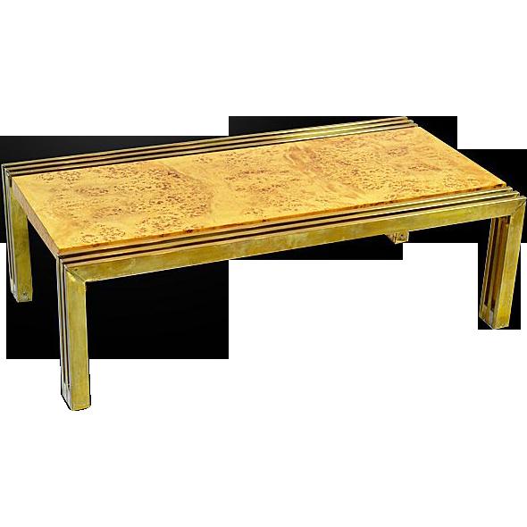 Rare Milo Baughman Burlwood and Brass Coffee Table from