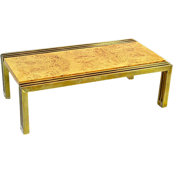 Rare Milo Baughman Burlwood and Brass Coffee Table