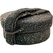 Glitzy Cylindrical Black/Gray Beaded Box Style Evening Bag
