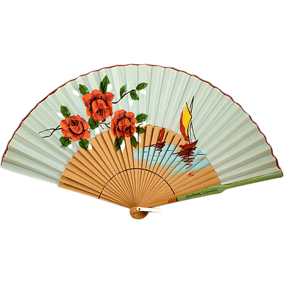 Beautiful Big, Colorful, Vintage Spanish Fan