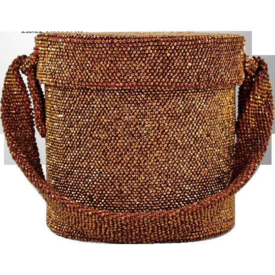 Vintage Bronze Colored Cylinder Beaded Box Evening Bag