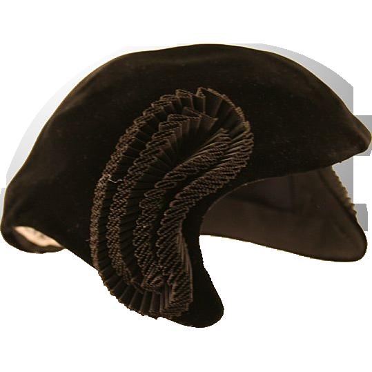 Glamorous I. Magnin Black Velour Matador Hat